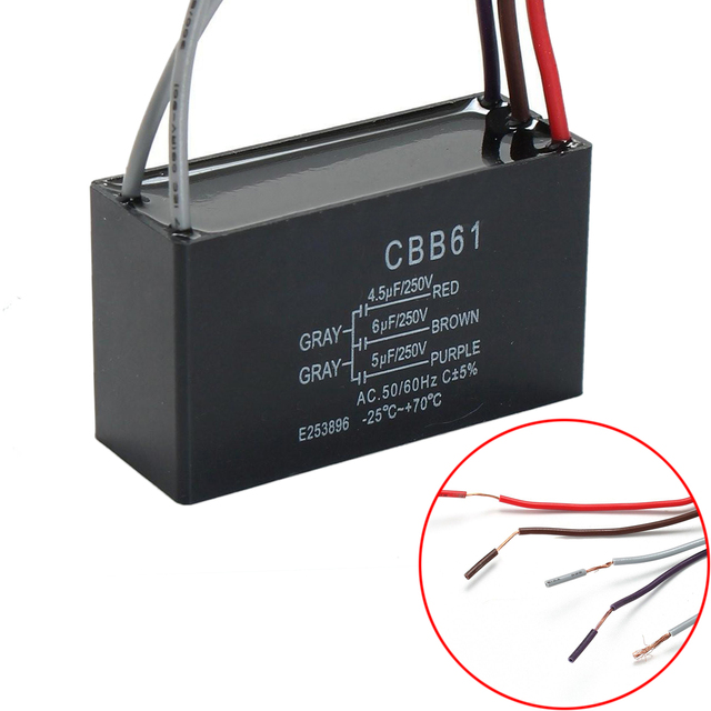 1 stück Schwarz CBB61 Kondensator 4,5 uF + 6 uF + 5 uF 5 Drähte ...