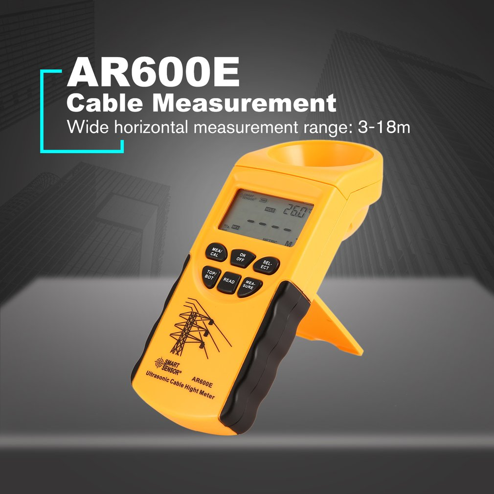 Smart Sensor AR600E Digital LCD Handheld Ultrasonic Cable Height Meter 3 23m 6 Cables Wire Measurement