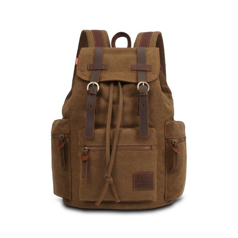 ФОТО Vintage Men Casual Canvas Leather Backpack Rucksack Satchel  Bag School Bag LXX9