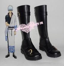 Anime gintama cosplay Silver Soul Sakata Gintoki Cosplay boots Custom Made black shoes стоимость