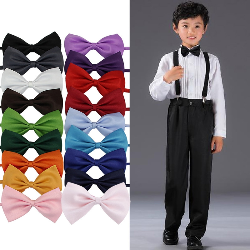 KLV Lot Children Girls Boys Toddlers Bowtie Pre Tied Wedding Bow Tie Plain Necktie 2018 New