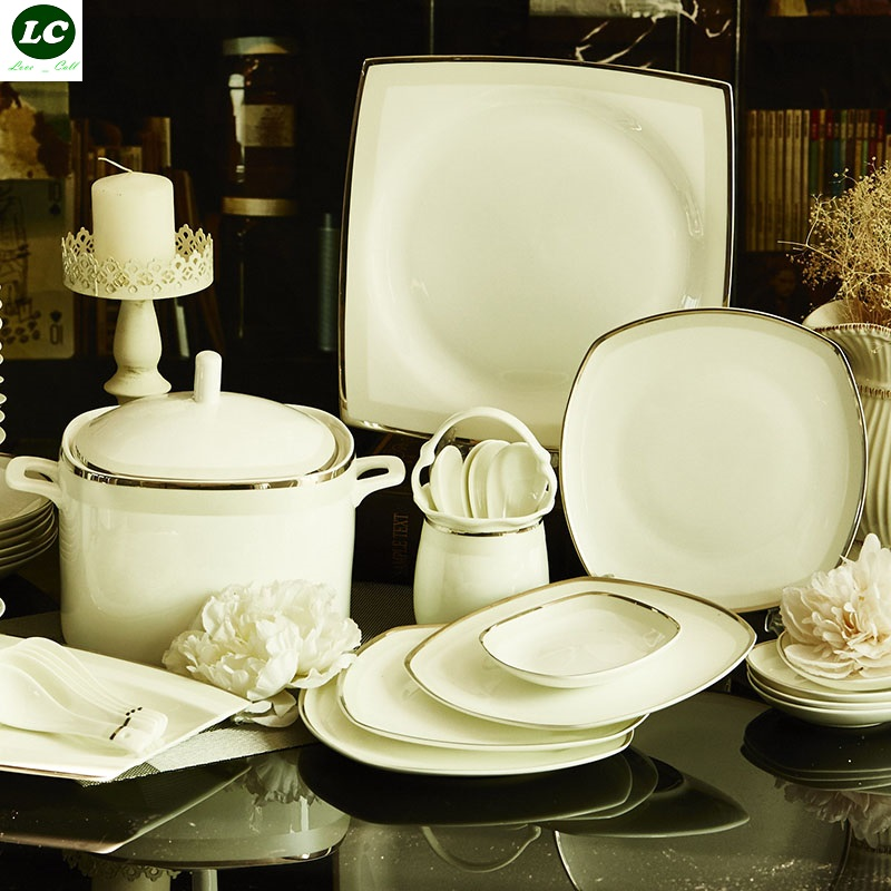 US $461.82 20% OFF Bone China Plates and Dishes Set Ceramic Combination  Luxury Design Kitchen Dining bar Tableware Dinnerware Sets wedding Gift-in  ...