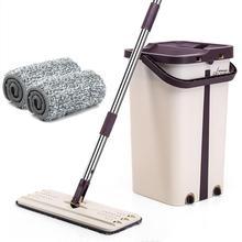 แบนบีบ Mop และถังมือง่าย Wringing ทำความสะอาดพื้น Mop ไมโครไฟเบอร์ Mop Pads เปียกหรือแห้งการใช้งานไม้เนื้อแข็งลามิเนตกระเบื้อง