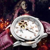 Montres Femmes Автоматическая Сапфир Смотреть Женщины Скелет механические часы кожи модные деловые женские водонепроницаемые женские часы
