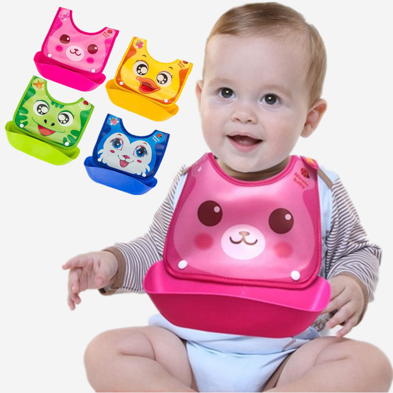 Fashion baby Silicone baby bibs Lovely Animals Meals Pocket bib waterproof Feeding newborn infant functional font