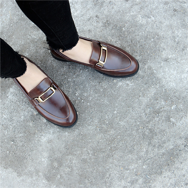 British Genuine Leather Oxford Shoes Woman Street All Match Brogues Metal Decoration Moccasins Soft Leather Derby Shoes Flats