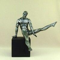 Abstract Pommel Horse Sportsman Sculpture Handmade Resin Buck Figure Statue Gymnastics Champion Decor Souvenir Gift and Craft