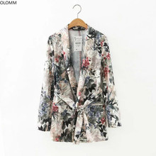 Women's jacket 2019 summer new temperament Slim print long-sleeved thin belt small suit
