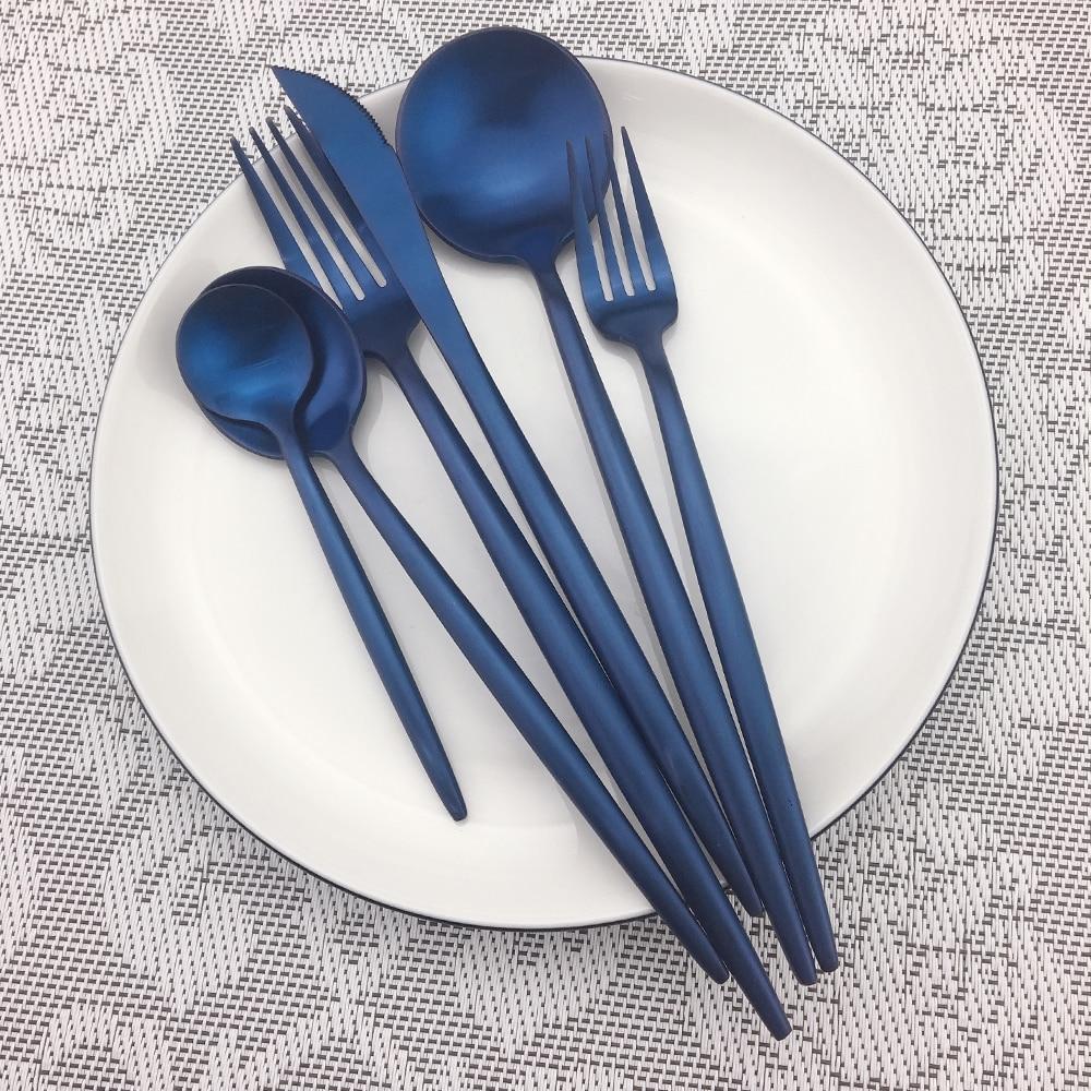 32 stks/8 set Groothandel Kleurrijke Blauw Bestek Bestek Set Rvs Zwart Vorken Messen Lepels Servies Set Drop verzending - 6