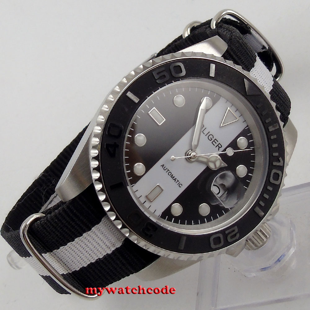 цена 40mm bliger black white dial date sapphire crystal automatic mens watch B150 онлайн в 2017 году