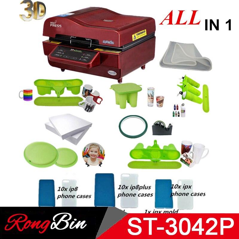 ST 3042 Paket 3D Vakuum Presse Maschine Wärme Drücken Drucker 3D Sublimation Hitze Presse Maschine für Fällen Tassen Teller Gläser