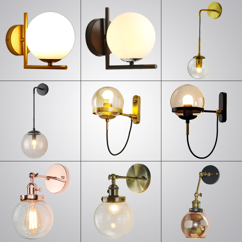 Modern minimalist hanging adjustable wire glass ball wall lamp Nordic creative home decoration hardware lighting lamps gold