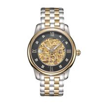 2017 Men's watch generous exquisite Stainless Steel Mechanical Hollow out all vogue Watch Gold Movement relogio masculino NMB19