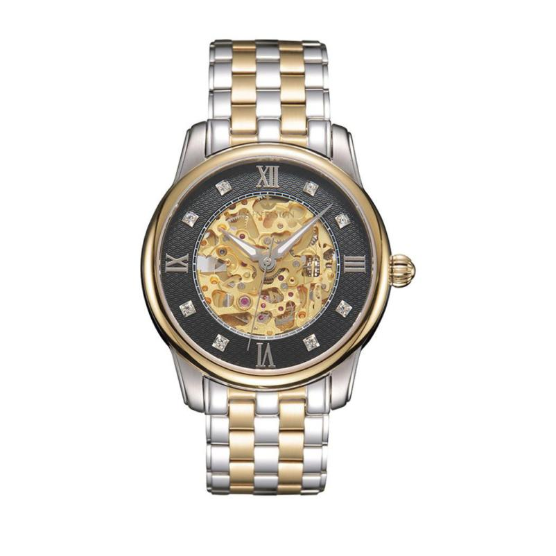 2018 Men's watch generous exquisite Stainless Steel Mechanical Hollow out all vogue Watch Gold Movement relogio masculino NMB19 все цены