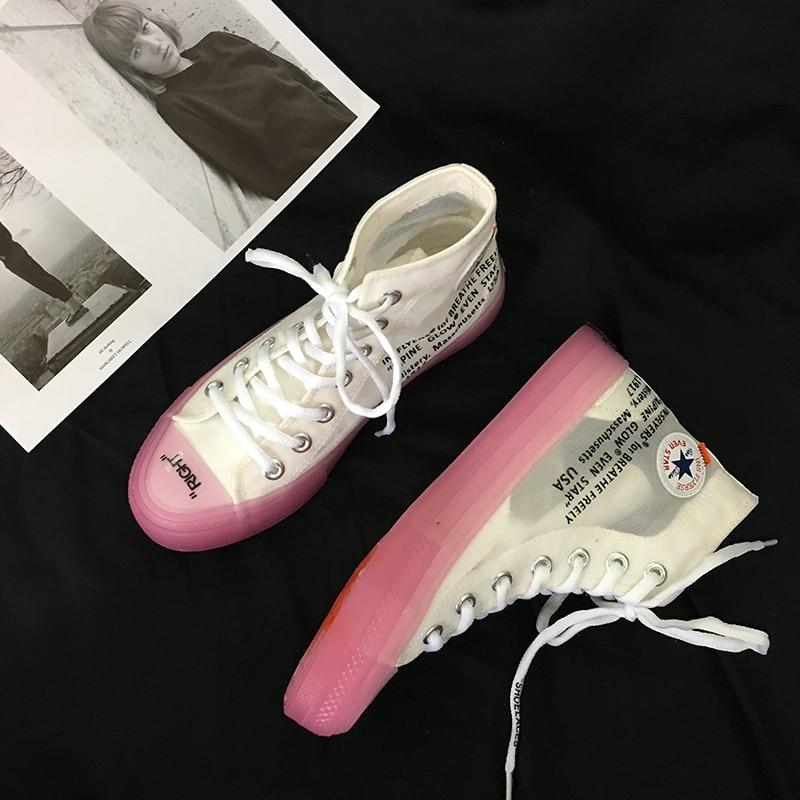 Marche Toile Transparent D'été Ins Fond Unique Noir pink Chaussures noir Cristal Rose Haute Blue De top Respirant Femmes Appartements Occasionnels pZqfI68Z