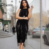 Free Shipping 2018 New Chic Inspired Tassels Belt Buckle Embellished Sexy Sleeveless Wholesale Celebrity Midi Bandage Dress