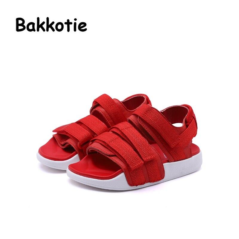 Bakkotie 2018 Summer New Baby Girl Fashion Beach Sandals Children Genuine Leather Flat Toddler Boy Brand Black Soft Casual Shoes