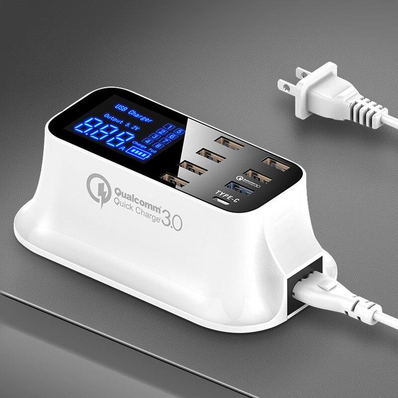 Carga rápida 3.0 Tipo C Estação Carregador USB Display Led Inteligente de Carregamento Rápido Telefone Tablet Carregador USB Para iPhone Samsung adaptador