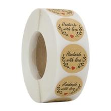 500 ручная работа с любовной наклейкой s Скрапбукинг ручная этикетка ручной работы Свадебная наклейка s клейкая наклейка крафт круглые этикетки