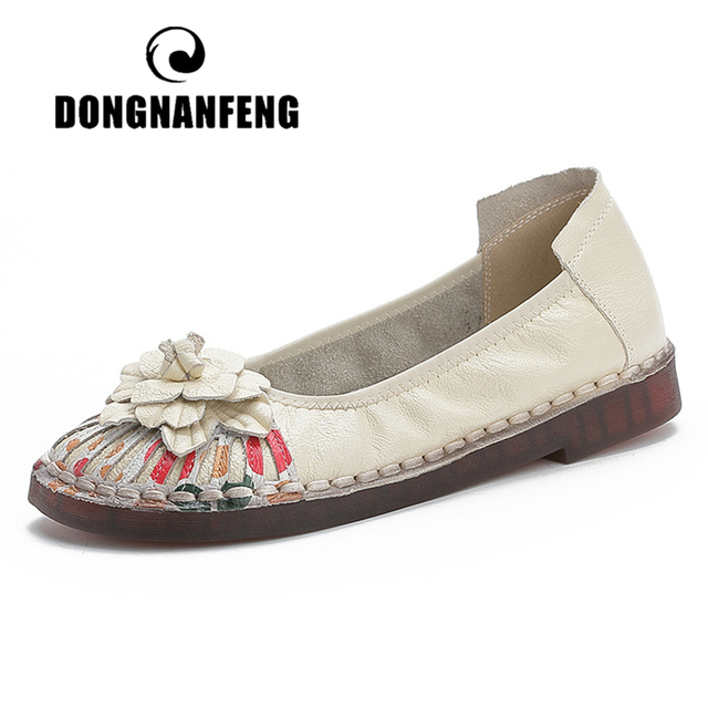 DONGNANFENG Women Mother Female Ladies Genuine Leather Shoes Loafers Flats Flowers Slip On Retro Ethnic Soft Size 36-41 MT-1955