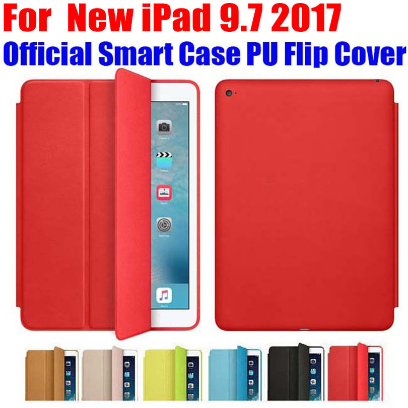 Brand new official Smart Case For iPad 9.7 inch 2017 Version Ultra thin PU Leather Flip Cover For New iPad 9.7 2017 ID701 back shell for new ipad 9 7 2017 genuine leather cover case for new ipad 9 7 inch a1822 a1823 ultra thin slim case protector