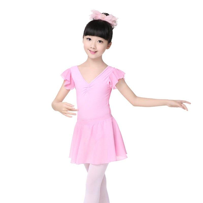 Girl and adult Joint ballet Dance Exercise leotard skirt Childrens V-collar Chiffon flutter Sleeve Clothes costume JQ-295