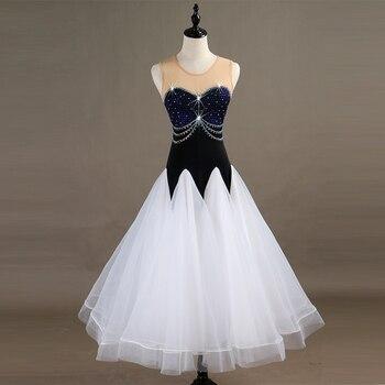 New Modern Dance Costume Women Elegant Shiny Diamond Long Skirt Ballroom Dance Competition Performance Dresses 2 Colors DQL1250