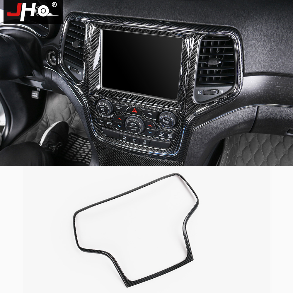 JHO Central GPS Navigation Panel Cover Trim For Jeep Grand Cherokee 2014-2018 2015 16 17 ABS Carbon Fiber Grain Car Accessories