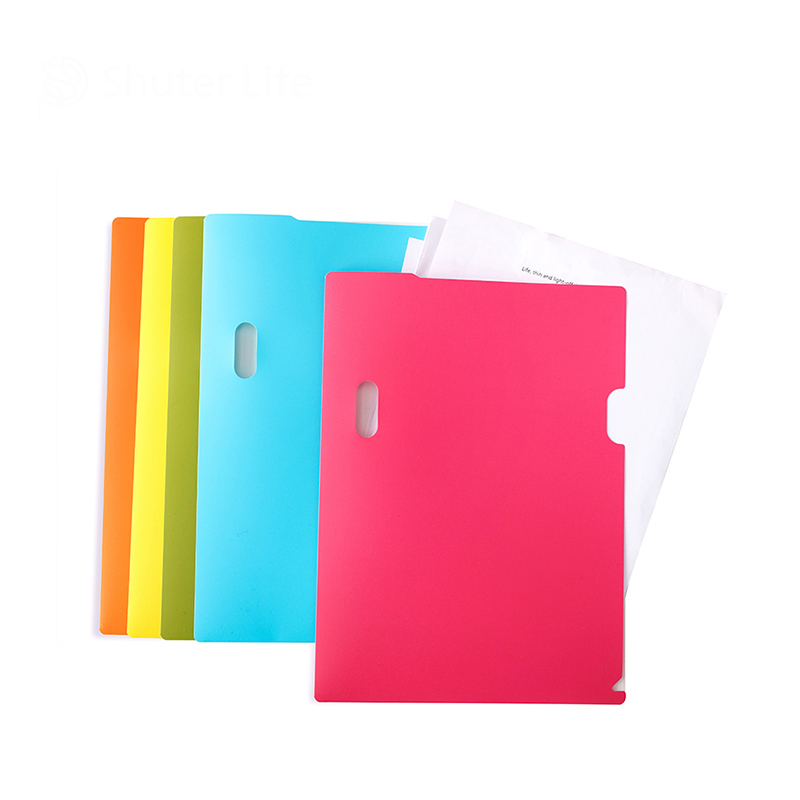 Korean School Office Supplies Colorful L Type Single Page File Folder A4 Size Bill Document Folder Filing Products 305*220mm