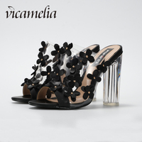 Vicamelia Newset Transparent High Heel Sandals With Flower Fashion Ladies Clear Sandals Shoes Women Open Toe Summer Slippers 560