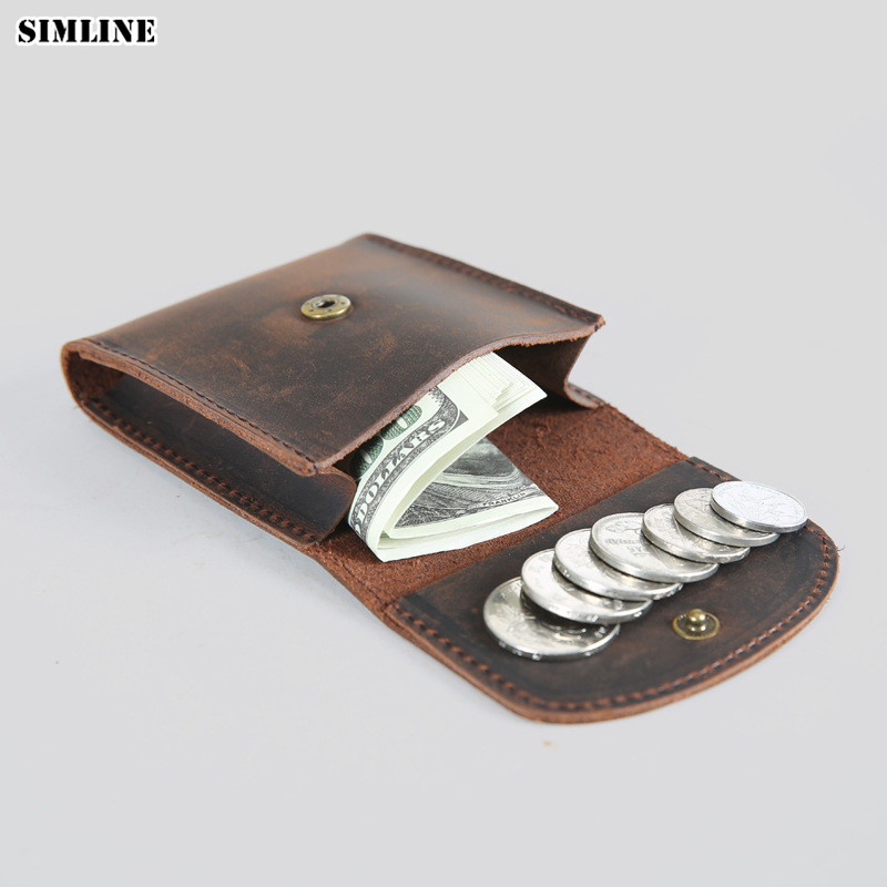 Crazy Horse Genuine Leather Coin Purse Men Women Vintage Handmade Cowhide Mini Small Hasp Wallets Purses Case Bag Holder Pocket