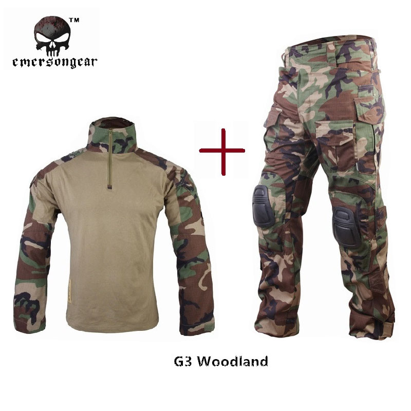 Emersongear Hunting clothes G3 Combat Shirt Pants Military BDU Airsoft Emerson Jungle Paintball Uniform Woodland vortex