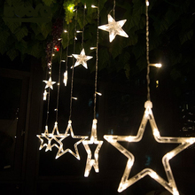 Christmas Lights, LED Star Curtain Light,Holiday lights,12stars 200cm Length 100cm Height for Holiday/Party/New year Decoration