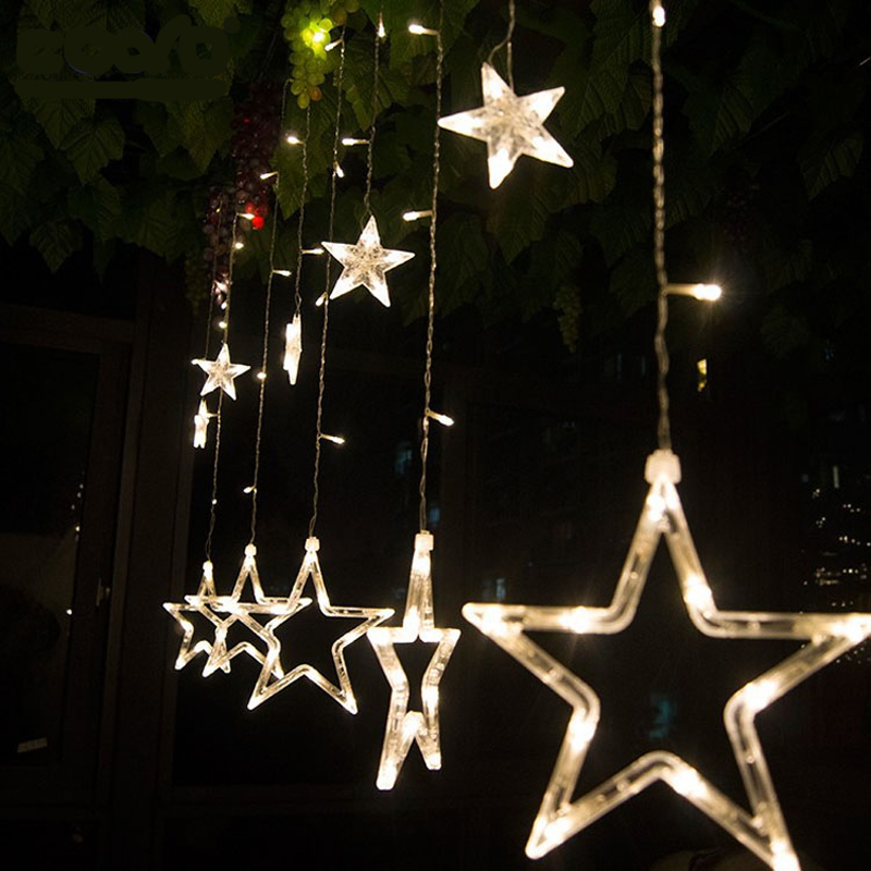 Christmas lights led star curtain light holiday lights for 6 star window christmas decoration lights
