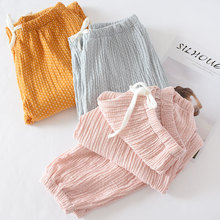 ZDFURS*Women Bottoms Cotton Pleated Fabric Sleep Pants Pink Pajama Trousers Soli