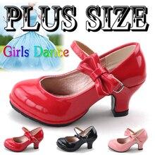 Кожаная обувь для девочек; осенние сандалии с бантом; Новинка года; детская обувь на высоком каблуке; милые сандалии принцессы для девочек