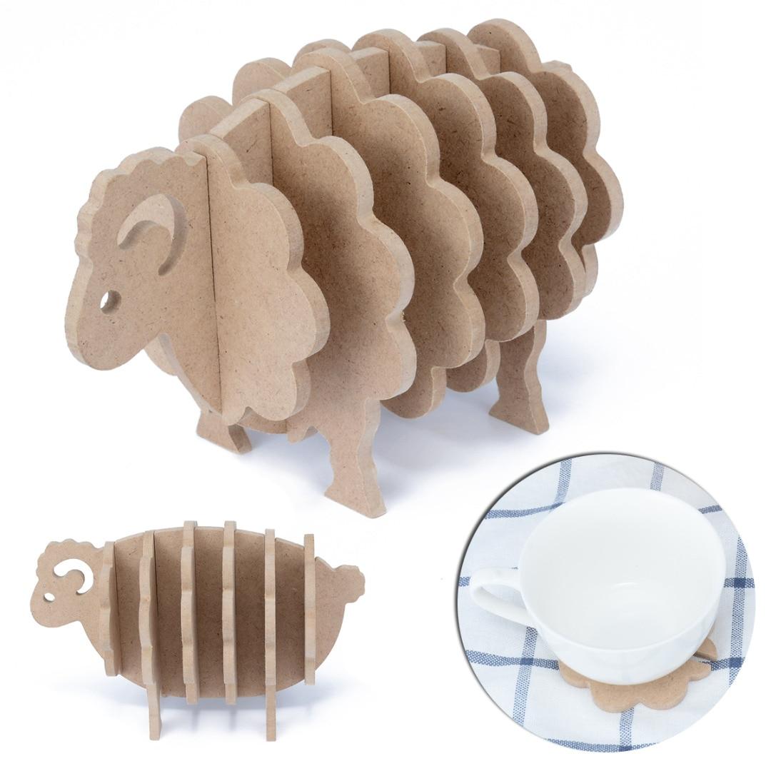 Творческий DIY Настольный коврик ручной работы овец животных Форма Подставки Мат Кофе коврик обеденный Pad дома Кухня украшения