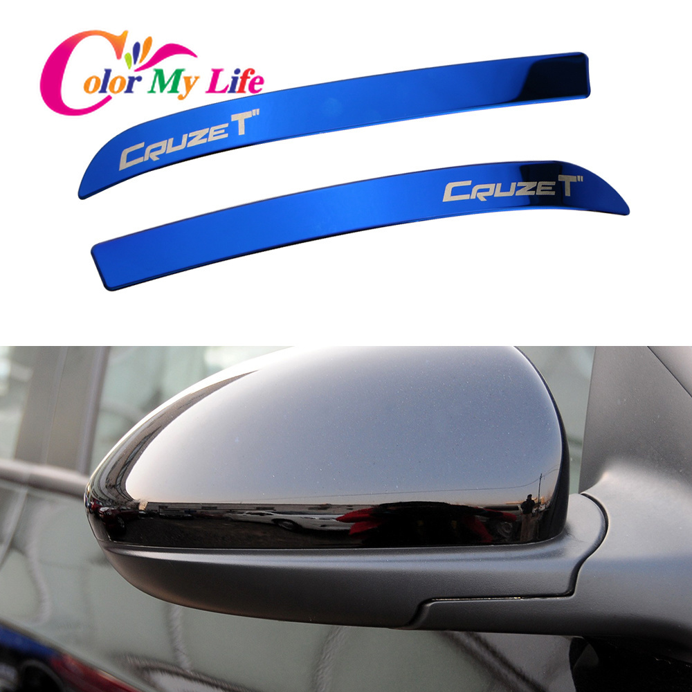 Color My Life Stainless Steel Car Rearview Mirror Decoration Trim Rear View Mirror Cover Sticker For Chevrolet Cruze 2009 - 2014