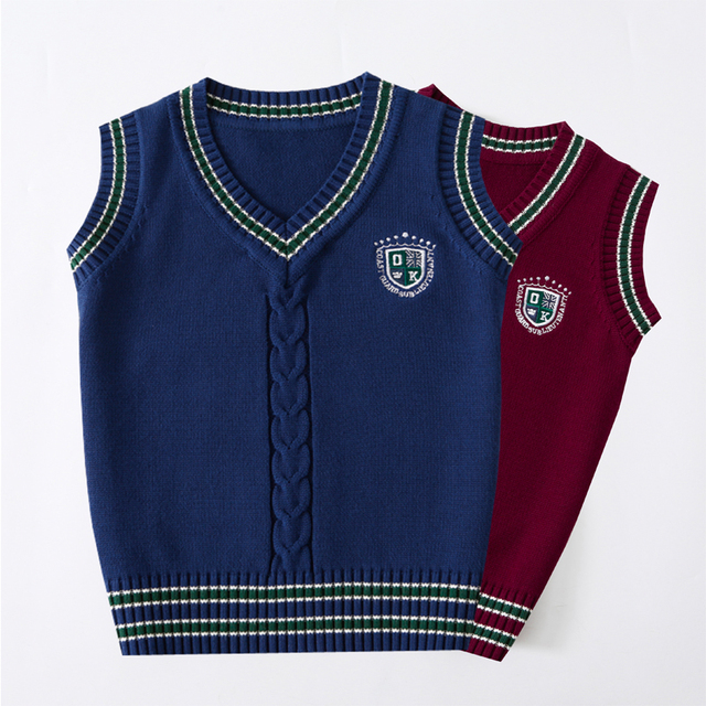 Children vests girl Winter New 2017 Big boys Knitting vest Teenage cotton Pullover V Neck waistcoats Middle school student vest