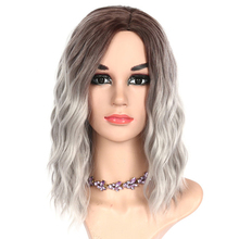 Kinky Curly Women Ombre Synthetic Hair Pieces Medium Length Femal Wigs Ladys Toupee High Temperature Fiber