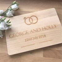Wedding Rings Personalised Bamboo Chopping Board, Anniversary Gift, Wedding Gifts, Gift For Couples