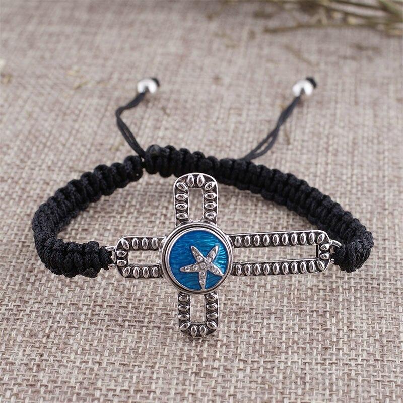 New Braided Rope Chain Black Bracelet Jewelry 18-26CM Adjustable Cross Snap Bracelet Fit 18mm Snap Button Jewelry KS0703-S