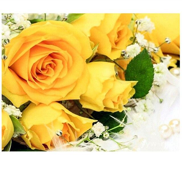 Yellow rose diamond mosaic full flower arrangement diy 3d cross yellow rose diamond mosaic full flower arrangement diy 3d cross stitch roses embroidery ribbons sets mightylinksfo