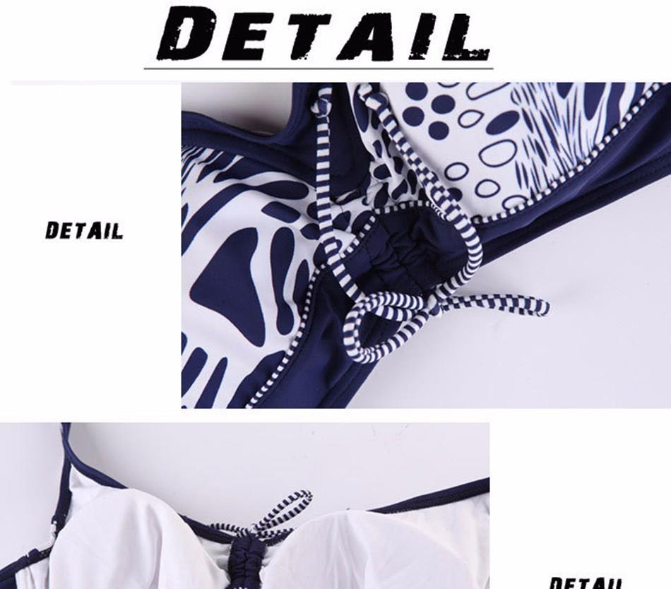 Extra Large Size Middle Waist Printed Bikini Swimwear Big Bra Soft Cup Tunic Bikinis Set Swimsuit Bathing Suit 2
