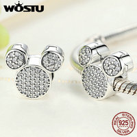Real 100 925 Sterling Silver Dazzling Mouse Clip Charm Beads Fit Original Pandora Bracelet Authentic Jewelry