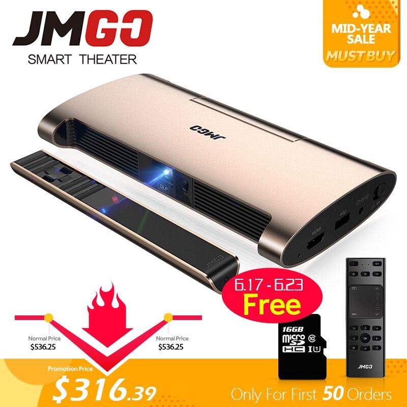 Projecteur intelligent JMGO M6. Android 7.0, prise en charge de la vidéo 4 k, 1080 P. Mis en WIFI, Bluetooth, stylo Laser, MINI projecteur