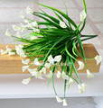 25 heads/bouquet New beautiful mini artificial calla with leaf silk fake lily Aquatic plants home room decoration flower