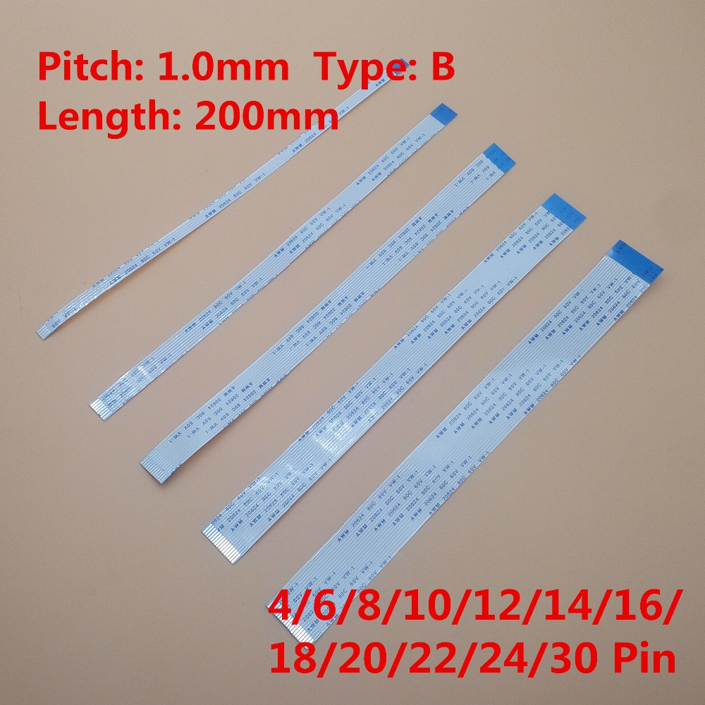 10Pcs Flat flexible cable FFC FPC LCD cable AWM 20624 FFC-1.0MM 200mm B Type Reverse Side 4/6/8/10/12/14/16/18/20/22/24/30 Pin