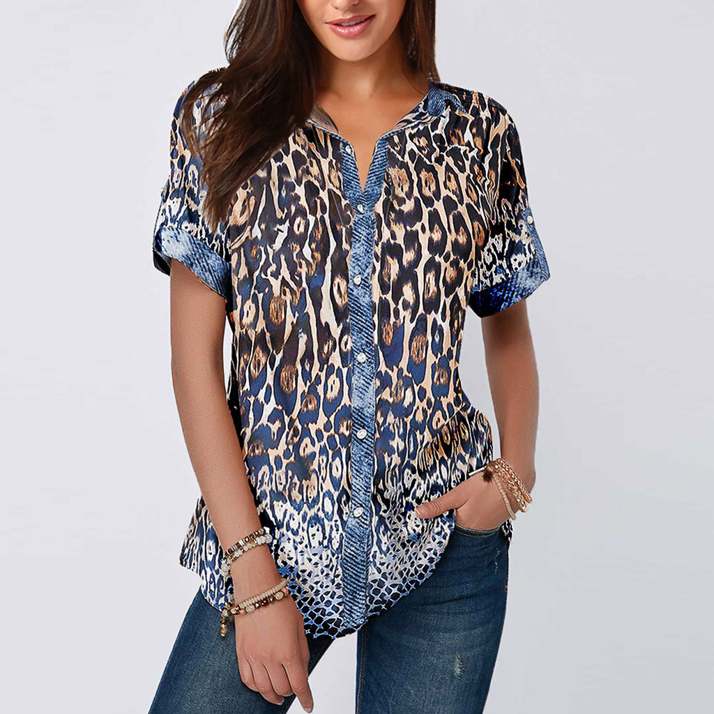 Blusas mujer de moda 2019 women's blouse shirt Women Casual Summer Leopard Printing Button Short Sleeve Tops Plus Size