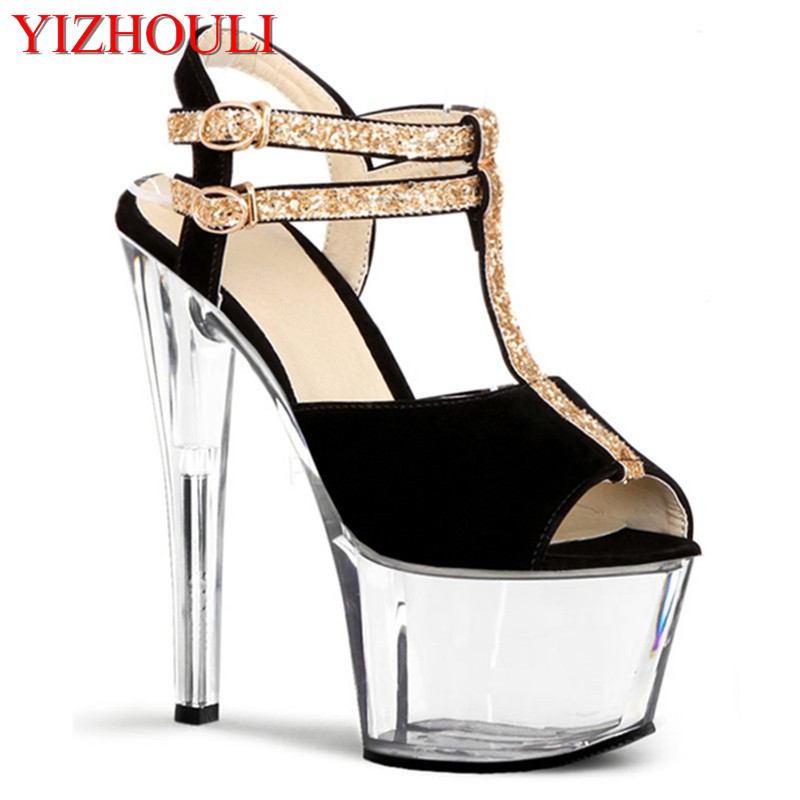 Professional build sexy glitter shoe buckles sandals 17cm high heels big party shoesProfessional build sexy glitter shoe buckles sandals 17cm high heels big party shoes